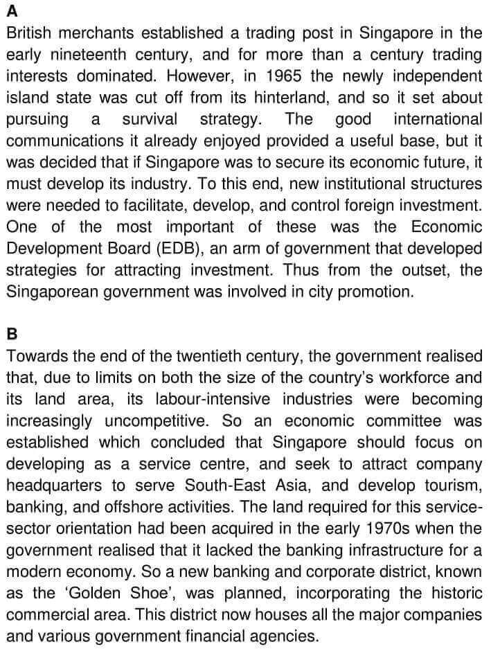 IELTS Academic Reading 'Urban planning in Singapore' Answers - 0001