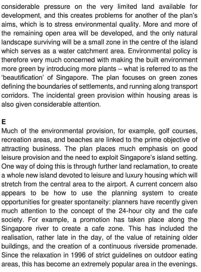IELTS Academic Reading 'Urban planning in Singapore' Answers - 0003