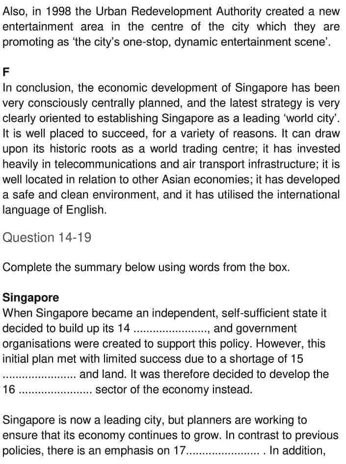 IELTS Academic Reading 'Urban planning in Singapore' Answers - 0004