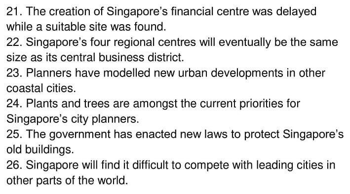 IELTS Academic Reading 'Urban planning in Singapore' Answers - 0006