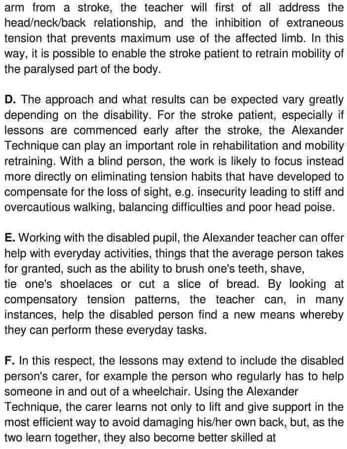 The Alexander Technique And Disability - 0002