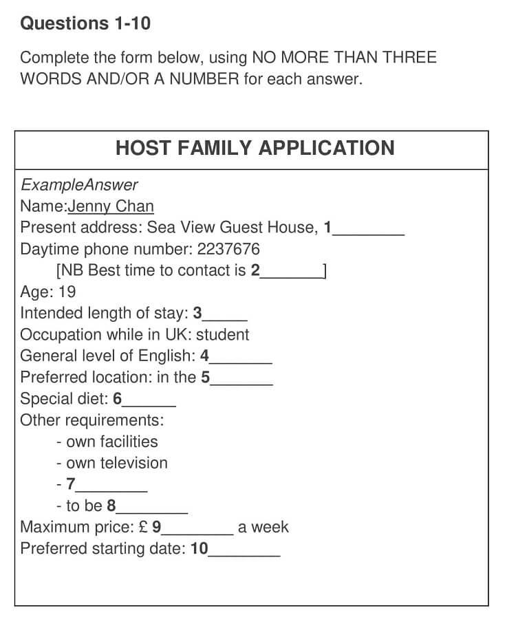 Host family Application 0001