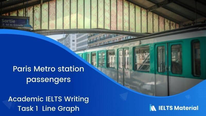Academic IELTS Writing Task 1 Topic : Paris Metro station passengers - Line Graph