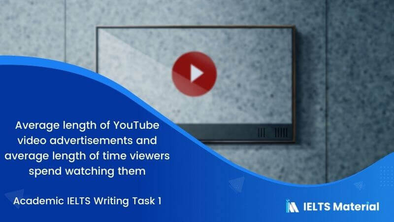 Academic IELTS Writing Task 1 Topic : average length of YouTube video advertisements and average length of time viewers spend watching them - Table