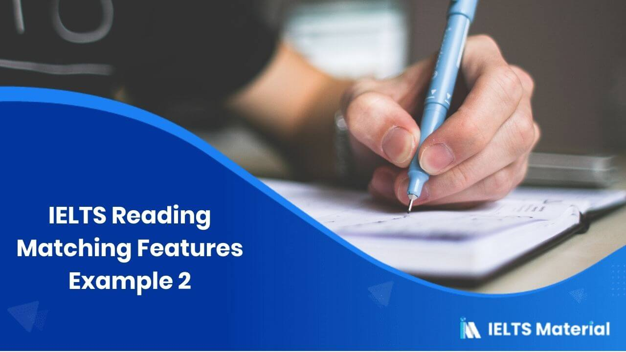 IELTS Reading Matching Features Example 1