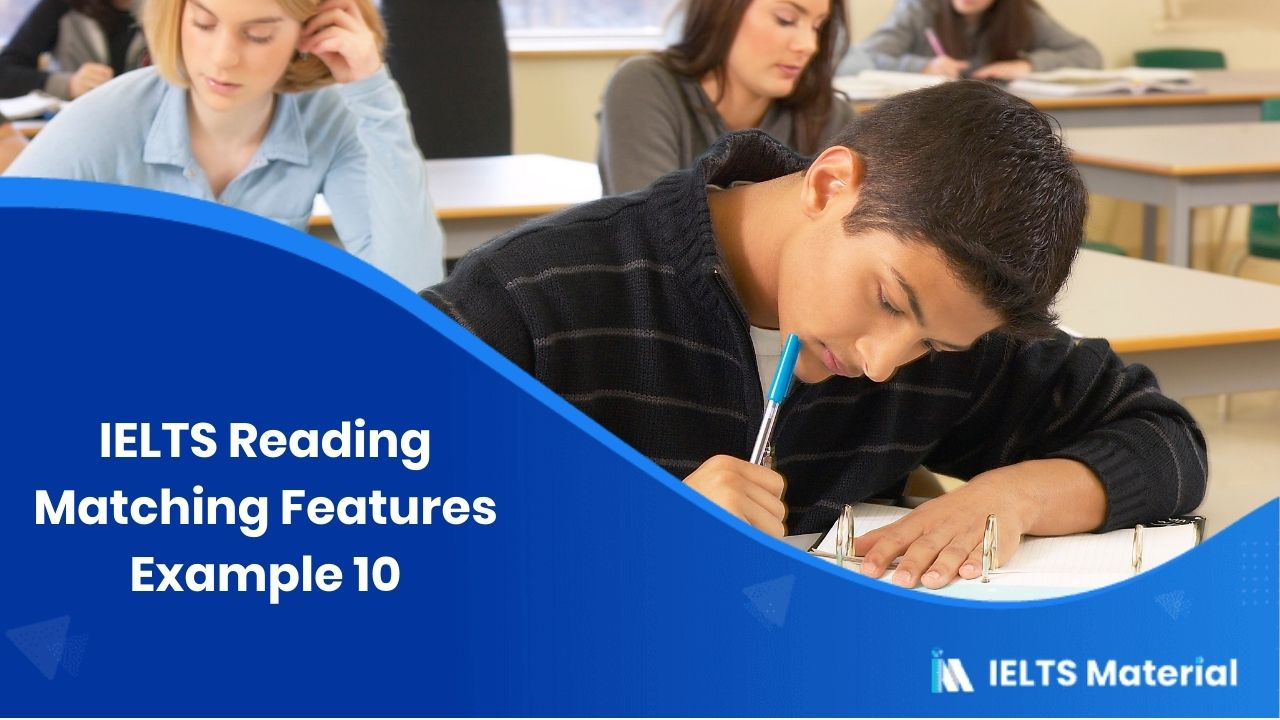 IELTS Reading Matching Features Example 10
