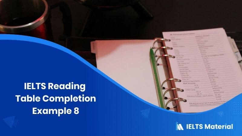 IELTS Reading Table Completion Example 8