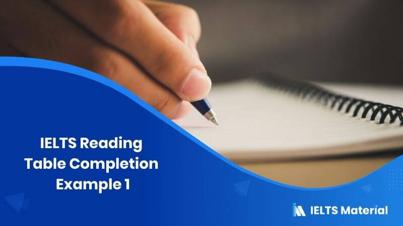 IELTS Reading Table Completion Example 1