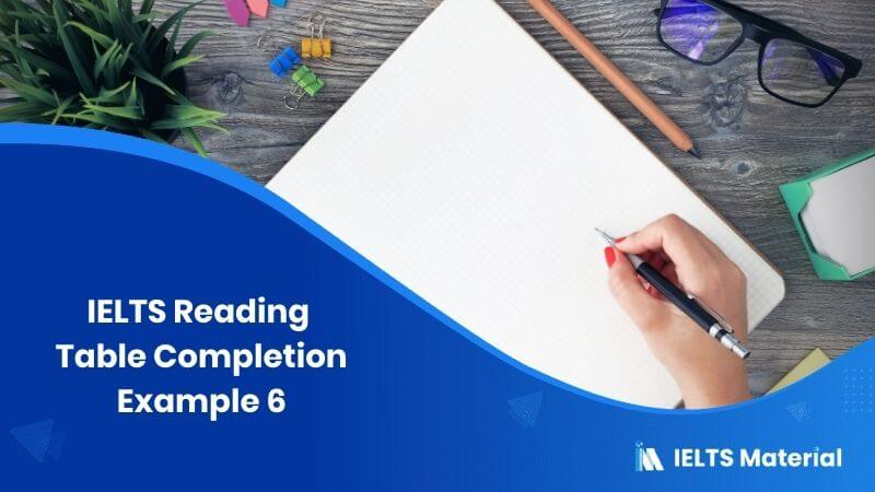 IELTS Reading Table Completion Example 6