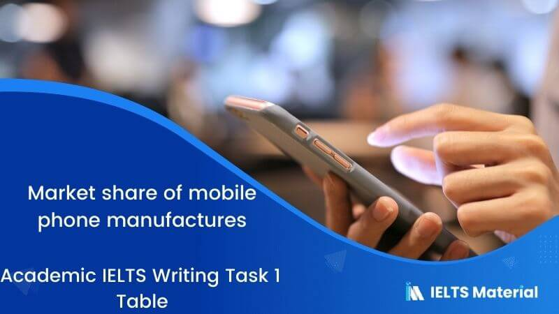 Academic IELTS Writing Task 1 Topic : market share of mobile phone manufactures - Table