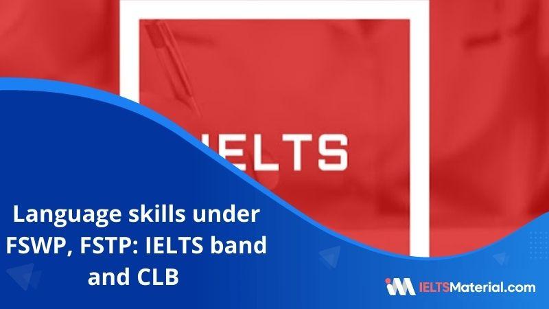 Language Skills Under FSWP, FSTP:  IELTS Band and CLB  