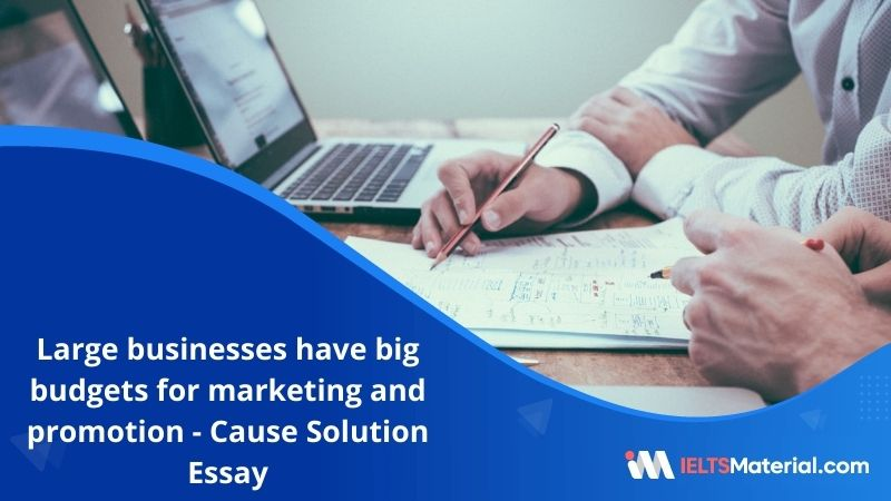 Large Businesses Have Big Budgets for Marketing and Promotion – IELTS Writing Task 2