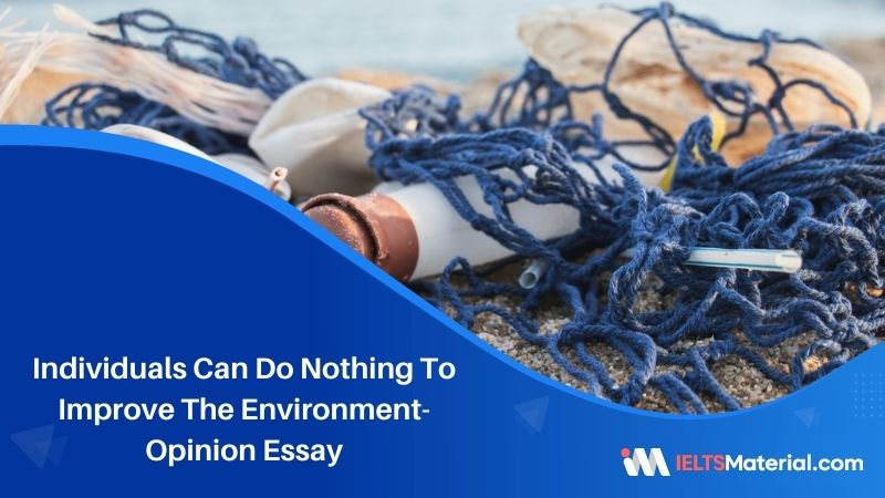 Individuals Can Do Nothing To Improve The Environment- IELTS Writing Task 2